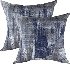 TreeWool Decorative Square Throw Pillowcases Set Brush Art Accent 100% Cotton Cushion Cases Pillow Covers (20 x 20 Inches / 50 x 50 cm; Navy Blue & Gray) - Pack of 2