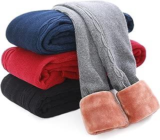 Girls Pants Velvet Skinny Warm Thick Leggings Fleece Lined Elastic Waist Knitting Trousers