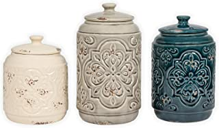 Ceramic Distressed Quilt Pattern Blue Grey Cream 3 Pc Canister Set