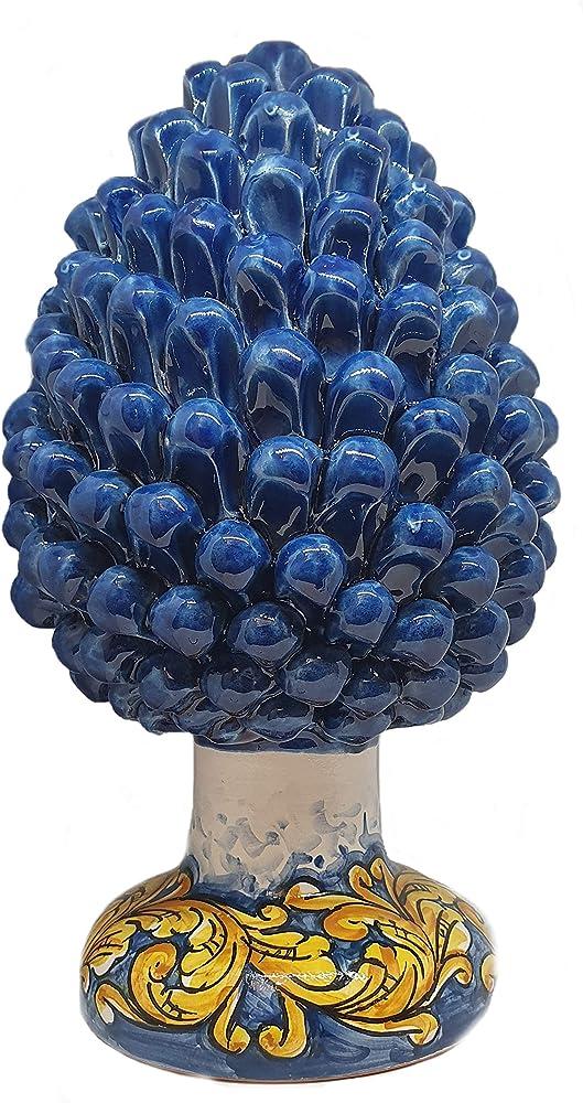 Sicilia bedda - pigna in ceramica con suppoto decorato, soprammobile realizzato a mano, blu ceruleo, 30 cm
