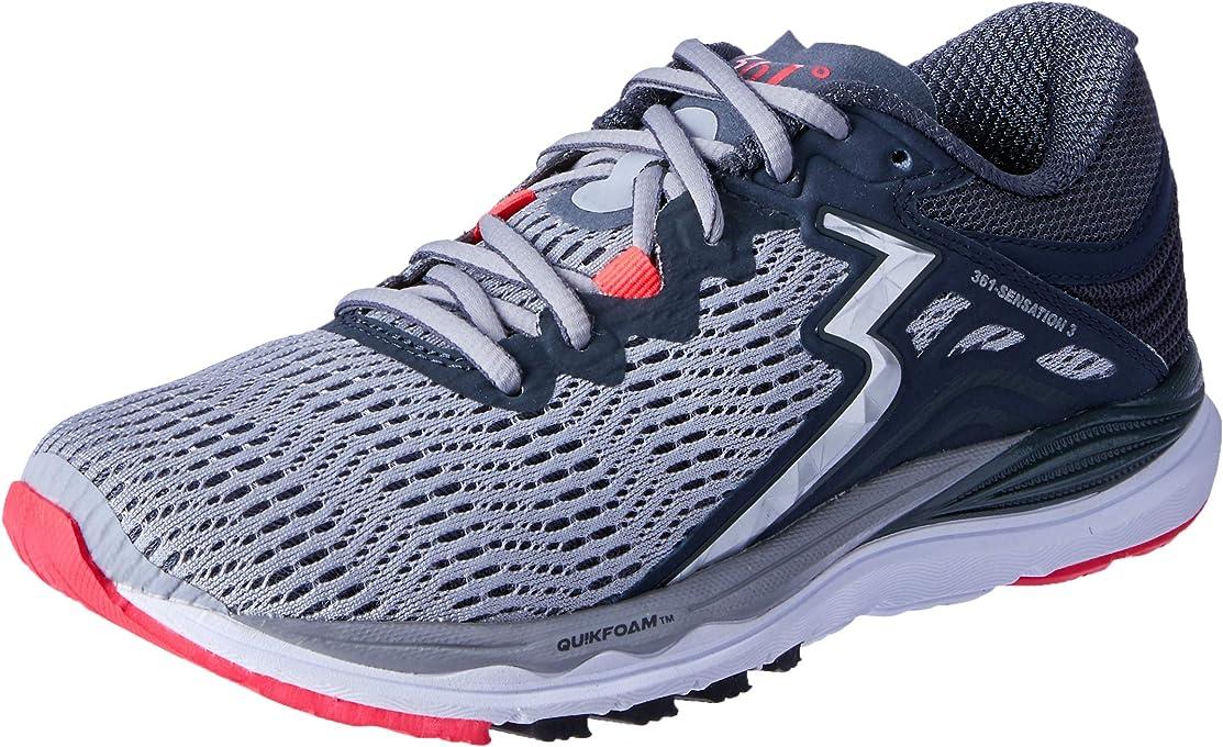 361 Degrees Sensation 3 - Womens Structured Running Shoe Women's Running Shoes, Sleet/Ebony