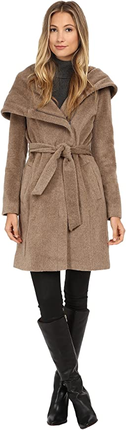 Belted Coat with Oversized Hood