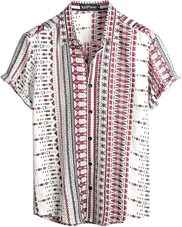 VATPAVE Mens Summer Tropical Shirts Short Sleeve Button Down Aloha Hawaiian Shirts