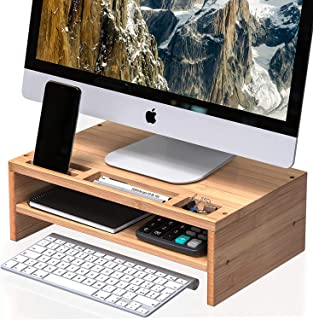 WELL WENG Bamboo Monitor Stand Riser with Smart Phone Holder Slot and Multi-Purpose Storage Shelf fit PC, Laptop, Printer,...