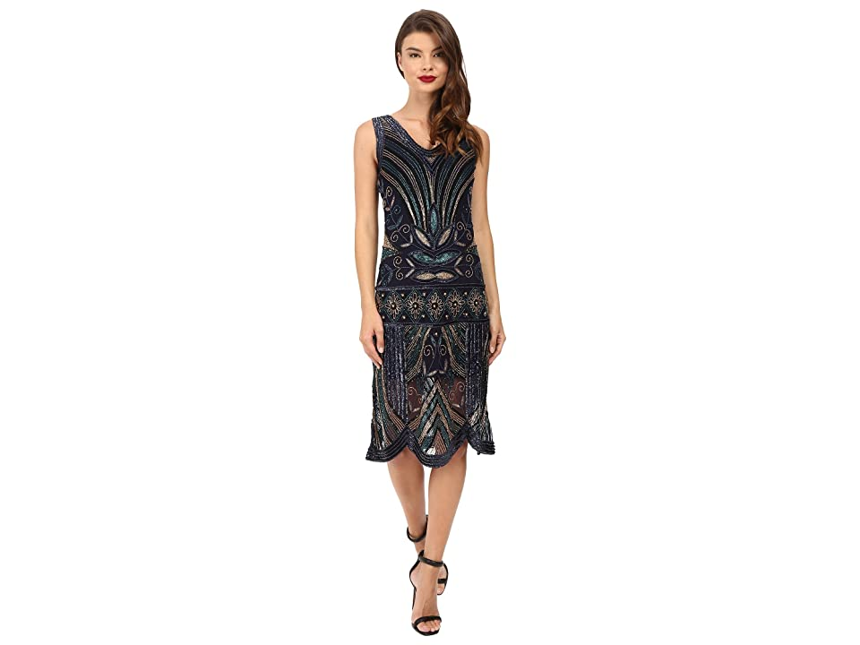 Unique Vintage Deco Beaded Caspian Flapper Dress (Navy/Gold) Women