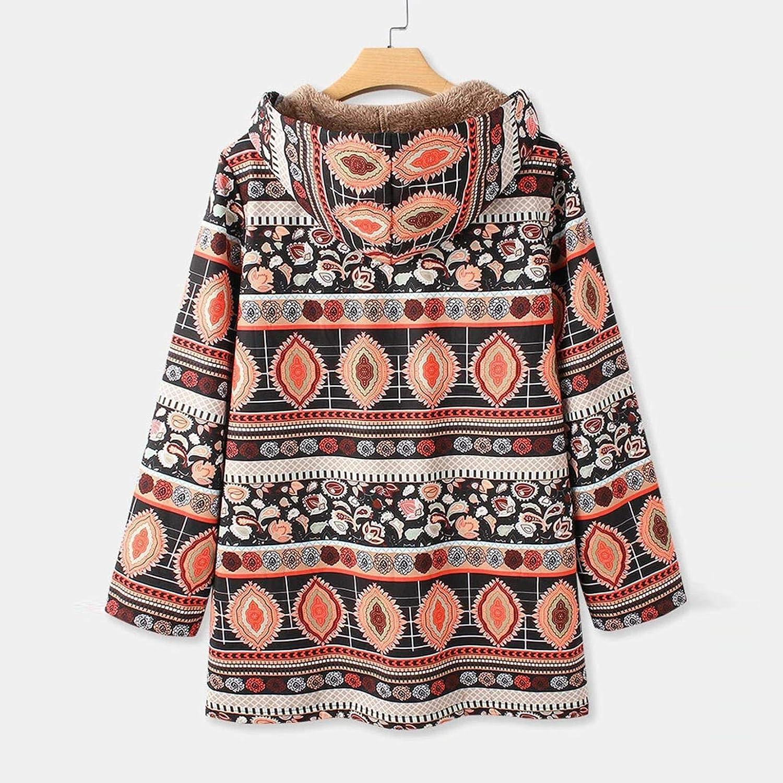 TICOOK Damen Winter Warme Reißverschlusstaschen Jacke Blumendruck Dicke Plüsch Kapuzen Outwear Vintage Oversize Mäntel Rot-1