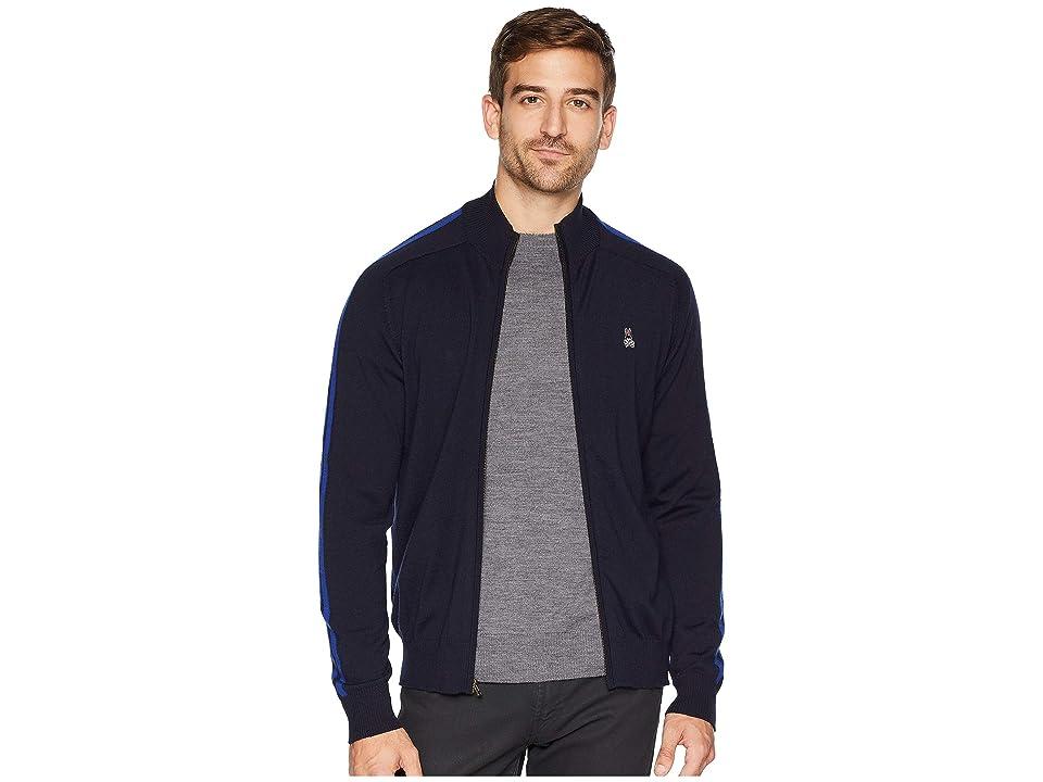 Psycho Bunny Full Zip Contrast Sweater (Navy) Men
