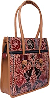 Lonika Vintage Tote Bag for Women, Ladies Leather Tote Shoulder Bag Elephant Ethnic Handbag Purse Big Large Black