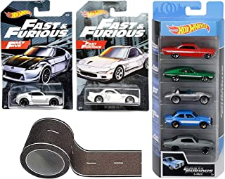 Car Speed Furious Fate Five Fast The Furious 5-Pack Impala / Ford Gran Torino Sport / Escort / Chevelle SS Bundled with '95 Mazda RX-7 & Nissan 370Z (Exclusive Packing) Die Cast