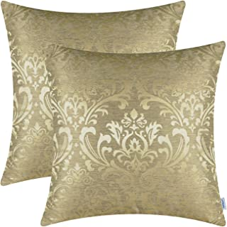 CaliTime Pack of 2 Throw Pillow Covers Cases for Couch Sofa Home Decoration Vintage Damask Floral Shining & Dull Contrast 18 X 18 Inches Gold