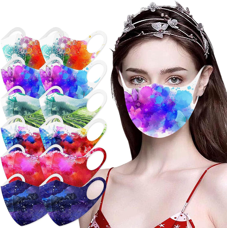 Unisex Adult's Face Masks,Reusable Face Mask Tie Dye Flower Print Face Masks, Women & Men 5 Pack
