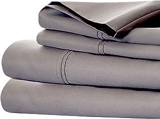 Bedford Home Cotton Rich Sateen Sheet Set, California King, Platinum