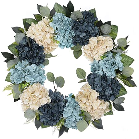 White and Blue Hydrangeas and American Flag Burlap Bow 18 inch Vine Wreath with Red