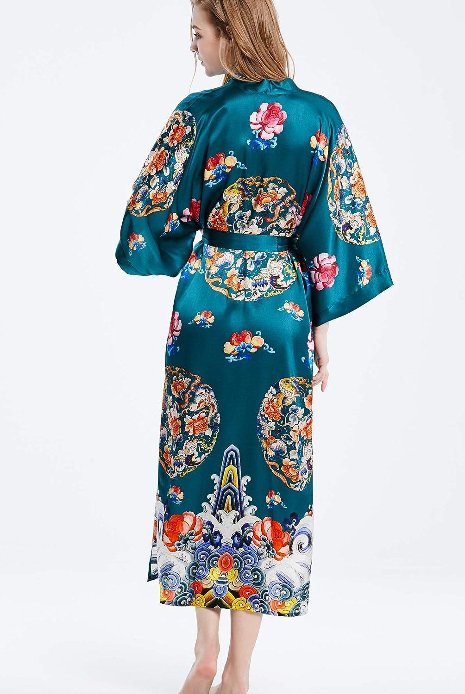 prettystern Damen Bodenlang Seide Kimono Morgenmantel Robe Kreis - Grün