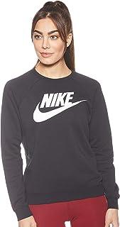 تي شيرت رياضي بكم طويل وشعار العلامة التجارية منقوش وقبة مدروزة للنساء من نايك
