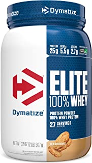 Dymatize Elite 100% Whey Protein Powder, Take Pre Workout or Post Workout, Quick Absorbing & Fast Digesting, Snickerdoodle, 2 Pound