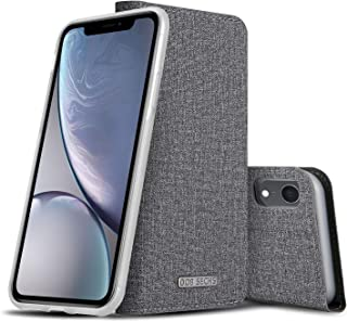 DOB SECHS Phone Case for iPhone XR Wallet Case Magnetic Detachable with RFID Protection Cover Case with Card Holder and Stand Feature (Grey)