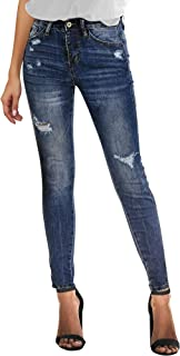 Women's High Rise Stretch Skinny Jeans Button Slim Fit Ripped Denim Jeans