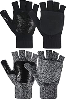 2 Pairs Winter Knitted Half Finger Gloves Fingerless Flap Cover Wool Gloves Convertible Mittens