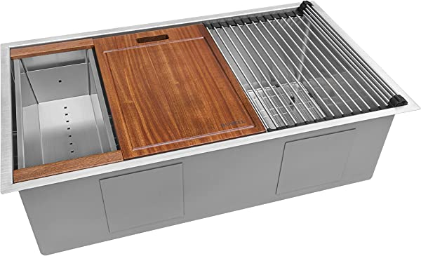 Ruvati 32 Inch Workstation Ledge Tight Radius Undermount 16 Gauge Kitchen Sink Single Bowl RVH8301