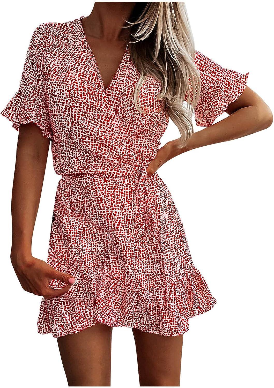 Eduavar Casual Dresses for Women, Womens Boho Print V Neck Short Sleeve Ruffle Summer Beach Mini Dress Short Sundresses