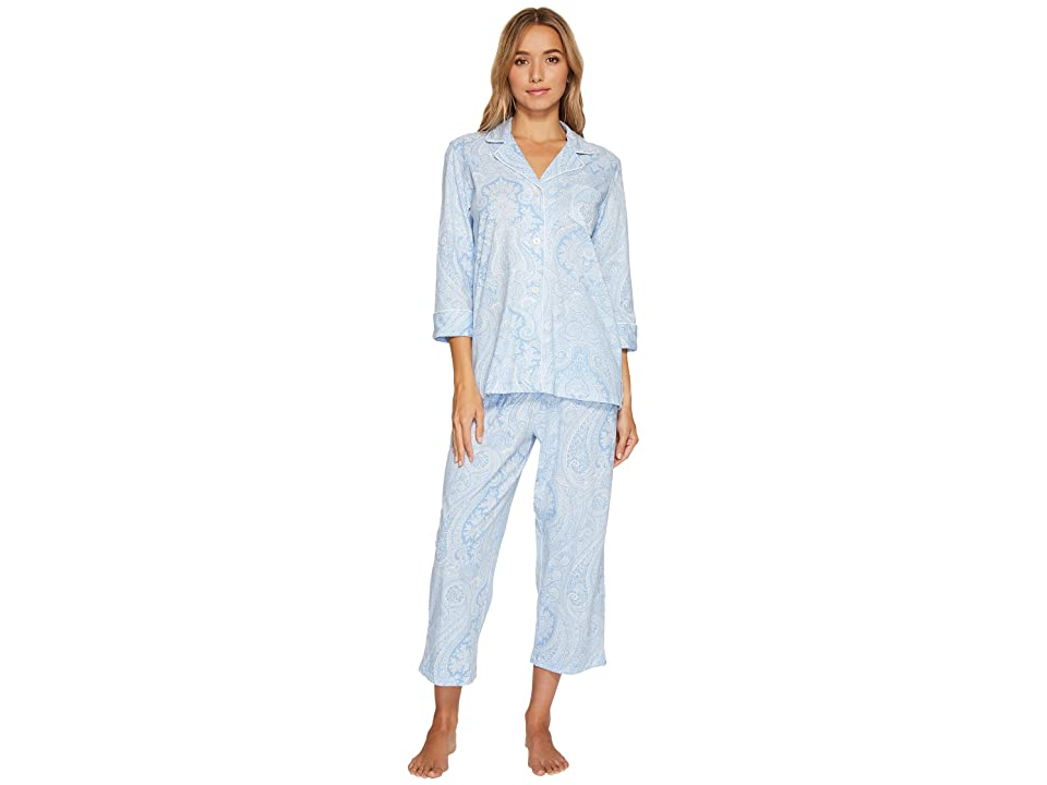 LAUREN Ralph Lauren Essentials Bingham Knits Capri PJ Set (Blue Paisley) Women