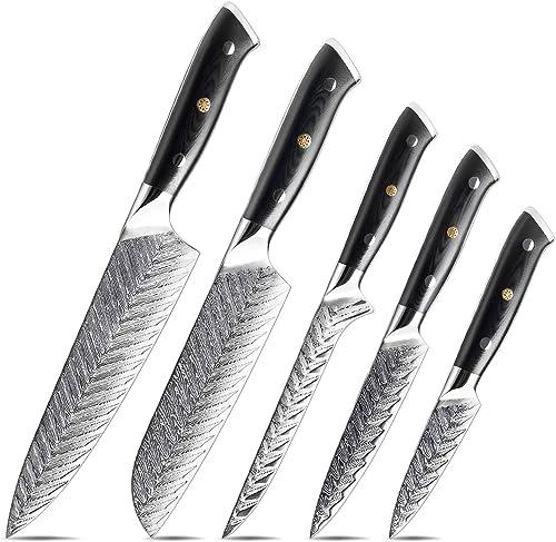 lowest XT XITUO Kitchen Knife Set, Japanese Vg10 Damascus Steel Chef Knife Set - w/knife sheath online , popular 5 Piece online