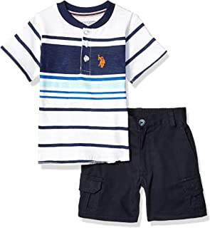 U.S. Polo Assn. Boys 8740 2 Piece Short Sleeve Henley T-Shirt and Short Set Shorts Set - Blue