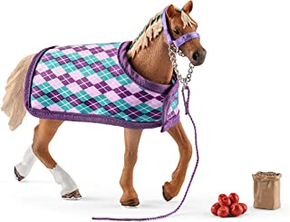 Schleich Horse Club English Thoroughbred with Blanket 4-piece Educational Playset for Kids Ages 5-12
