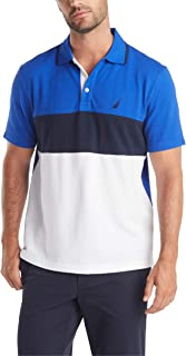 Nautica Men's Short Sleeve 100% Cotton Pique Color Block Polo Shirt