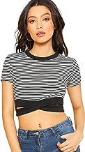 MAKEMECHIC Women's Casual Short Sleeve Criss Cross Waist Crop T-Shirts Blouse