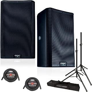 QSC K10.2 10-Inch 2000 Watt Powered PA Speakers (PAIR) w/XLR Cables & Speaker Stands