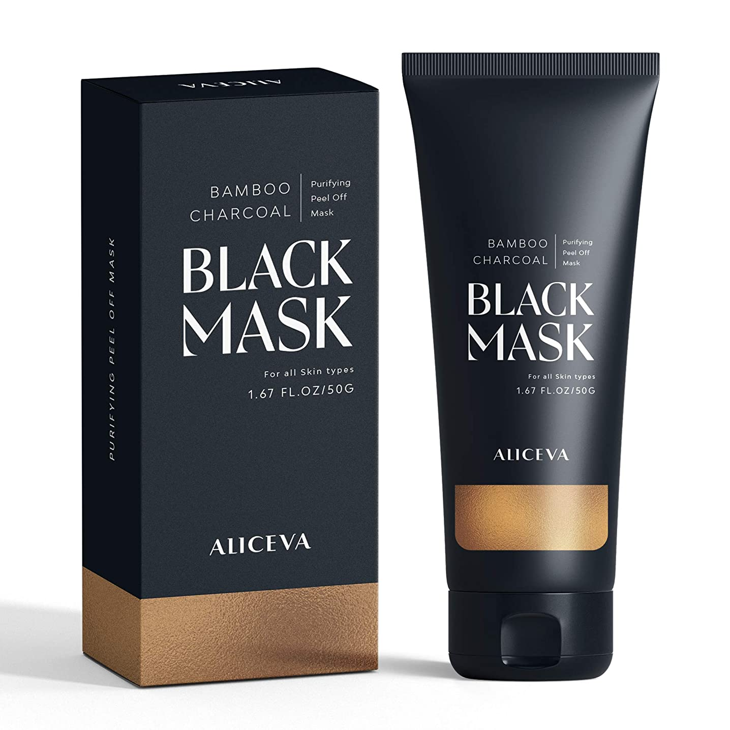 Aliceva Blackhead Remover Mask, Black Mask, Charcoal Peel Off Mask, Activated Charcoal Face Mask For All Skin Types - 60 Gram