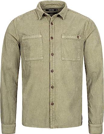 Indicode Caballero Fulham Camisa de Pana con 2 Bolsillos en el Pecho 100 % algodón   Regular Fit Manga Larga Camisa Marca Informal para Hombres