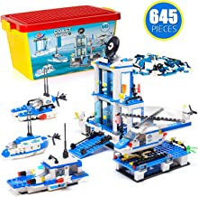 Building Blocks Coastle Counter-Terrorism City Police , Exercise N Play Submarine Helicopter Ship Port Toddlers Creative DIY Construction Toy for Boys Girls Exercise N Play