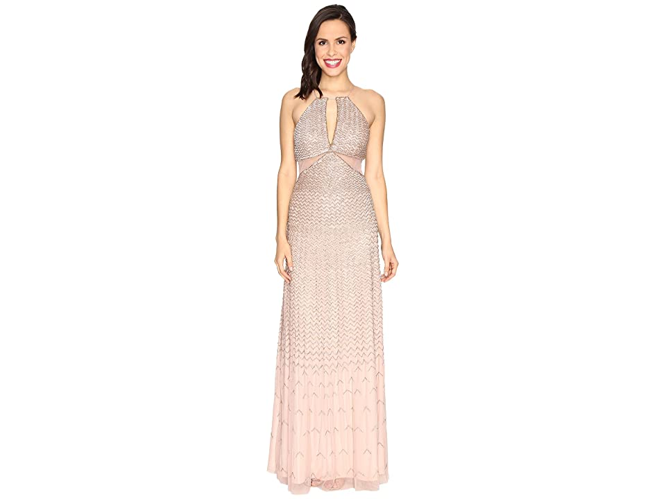 Adrianna Papell Strappy Halter Fully Beaded Gown with Side Mesh Cut Outs and CF Keyhole (Rose Gold) Women