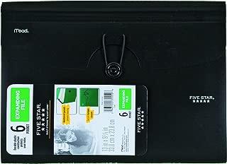 Five Star 6-Pocket Expanding File, Plastic Expandable File Folder, Black (72391)