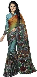Venisa Women's Handloom Cotton Soft Silk Digital Printed Saree(Shanaya_Orange_Free Size)
