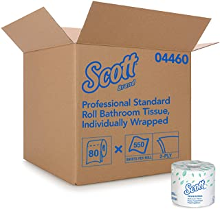 Scott Essential Professional Bulk Toilet Paper for Business (04460), Individually Wrapped Standard Rolls, 2-Ply, White, 80...