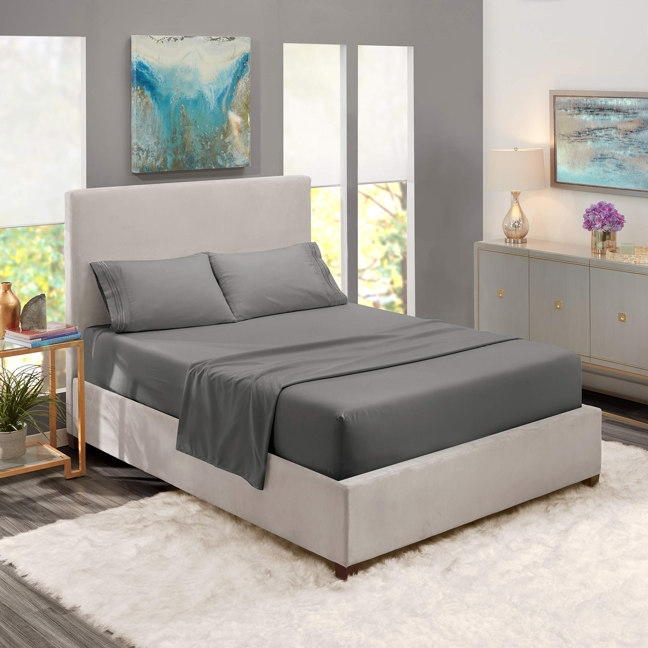 Queen Size Sheets Microfiber Charcoal