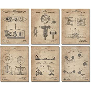 "Nikola Tesla Inventions - Set of Six 8""x10"" Wall Art Patent Prints - Engineering Gifts - Nerd Home Decor"