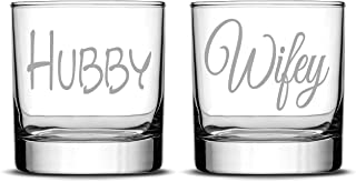 Integrity Bottles Premium Whiskey Glasses, Hubby and Wifey, Hand Etched 10oz Rocks Glasses, Made in USA, Highball Gifts, S...