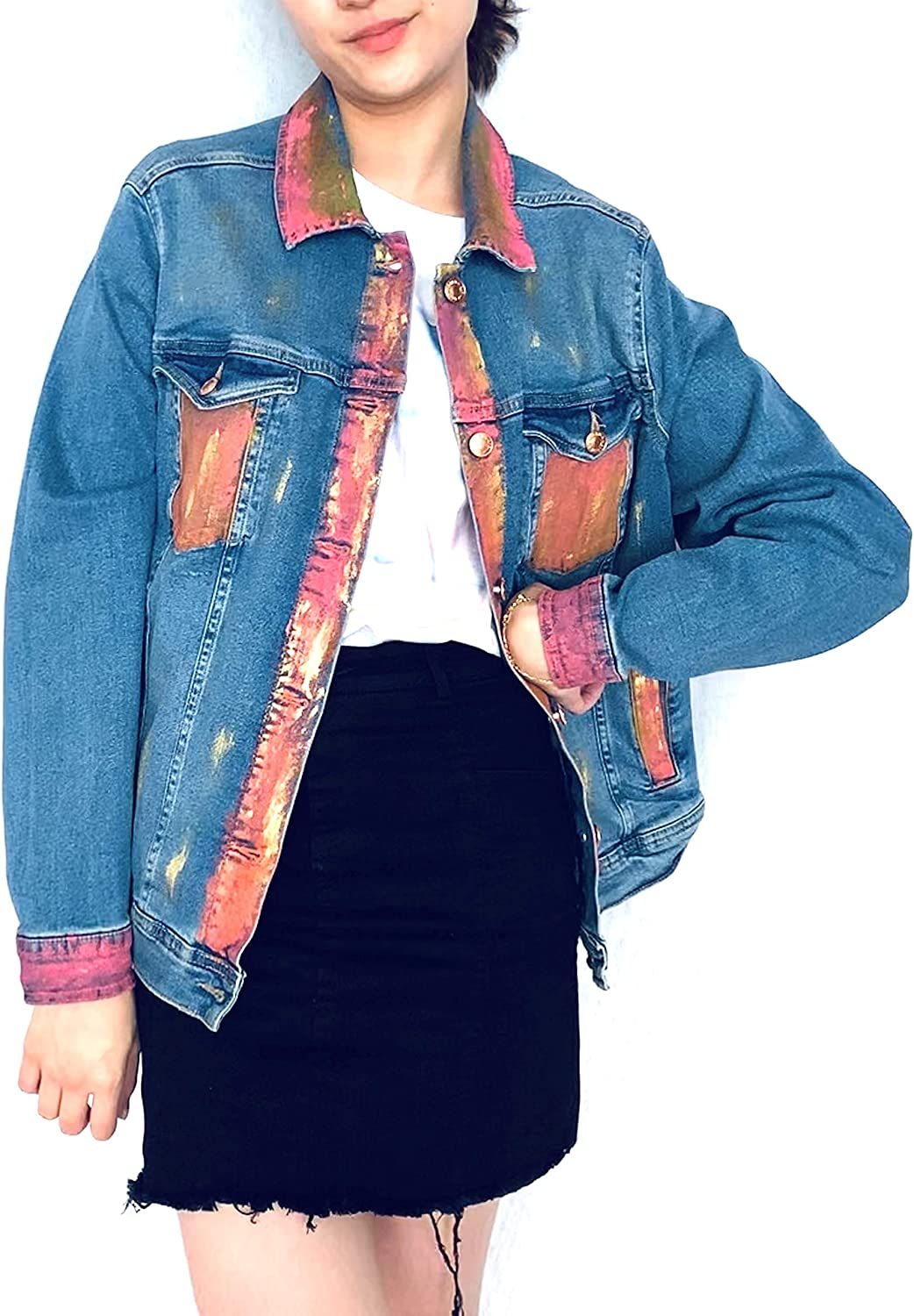 Women's Hand Painted Denim Jeans Jacket - Limited Edition, Pink/Gold Abstract Design