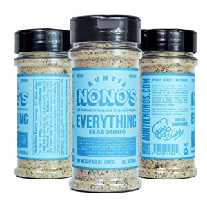 Auntie Nono's Everything Seasoning - Perfect Natural Flavor Food Seasoning for Veggies, Steaks, Roasts, Chops, Chicken, Fish, Oysters, Mussels, Eggs, and just about everything else