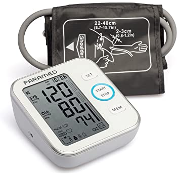 Blood Pressure Monitor by Paramed: Accurate Automatic Upper Arm Bp Machine & Pulse Rate Monitoring Meter with Cuff 22-40cm,120 Sets Memory, LCD - Device Bag & 4AAA Included