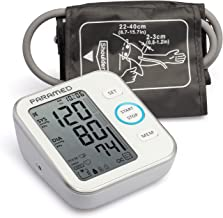 مانیتور فشار خون توسط Paramed: دقیق دستگاه بازوی بالا BP اتوماتیک و اندازه گیری پالس اندازه گیری فشار با کاف 22-40cm ، 120 مجموعه حافظه ، LCD و مکالمه - کیسه دستگاه و 4AAA شامل - Fda تصویب