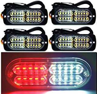 12-24V 20-LED Super Bright Emergency Warning Caution Hazard Construction Waterproof Amber Strobe Light Bar with 16 Different Flashing for Car Truck SUV Van - 4PCS (White Red)