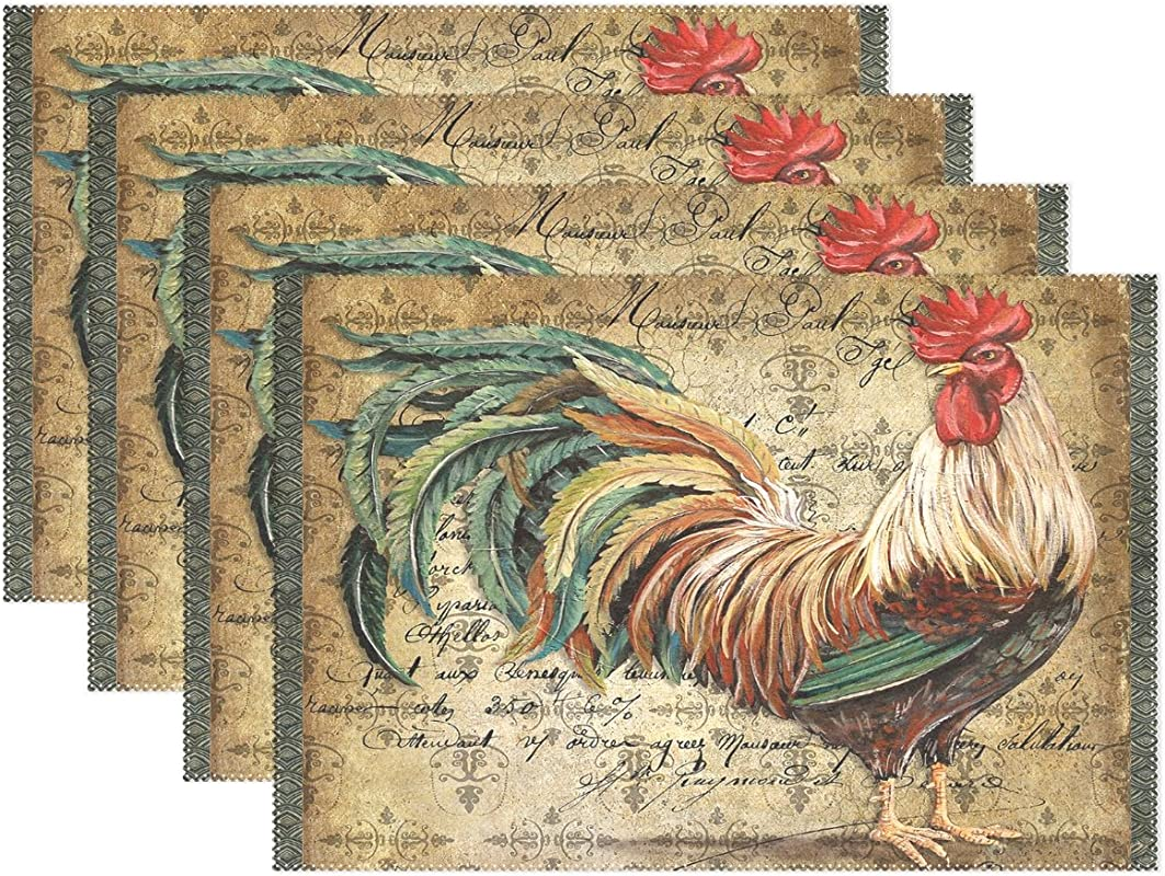 WARMFM Ethel Ernest Animal Rooster Heat Resistant Placemats Polyester Tablemat Place Mat For Kitchen Dining Room Set Of 6