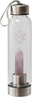Lifestyle Products Glass Water Bottle, All Natural Crystals and Gem Stones, Includes Protective Neoprene Sleeve