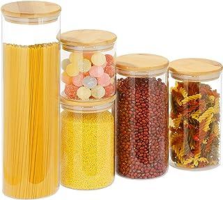 Lot de 5 bocaux de conservation avec couvercle en bambou - Bocaux de conservation en verre borosilicate - Accessoires de c...